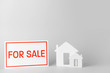Figures of house on white background. Concept of buying real estate