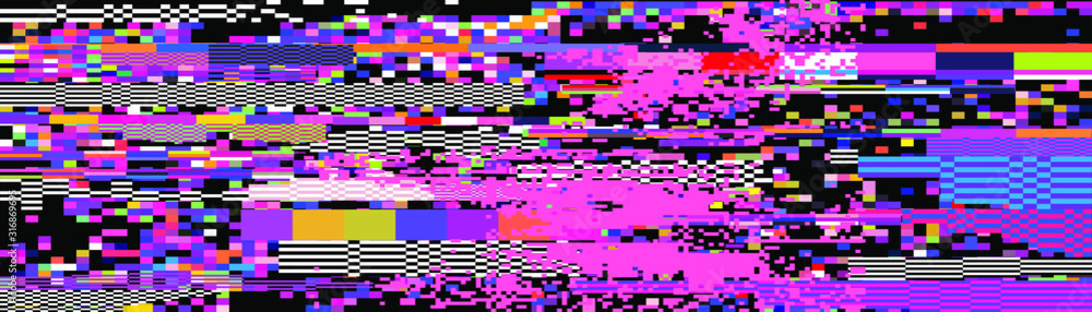 Fototapeta Webpunk style glitched background with VHS artifacts, random pixel noise. Vaporwave and retrowave aesthetics of 80's.