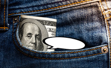 100 Dollar Banknote In Jeans P...