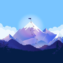 Mountain Top With Trail And Flag. Landscape Illustration With A Path To A Goal. Metaphor For Business Strategy, Reaching Goals, Ambitions And Path To Success. Vector Illustration.