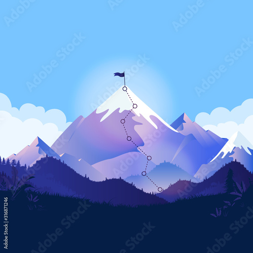 Fototapety, obrazy: Mountain top with trail and flag. Landscape illustration with a path to a goal. Metaphor for business strategy, reaching goals, ambitions and path to success. Vector illustration.