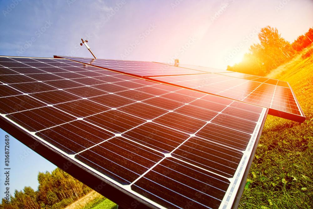 Fototapeta Solar energy panels in sunlight
