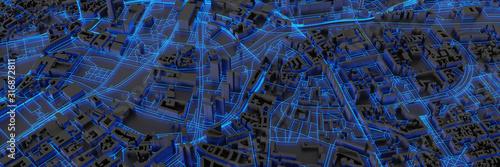 Techno mega city; urban and futuristic technology concepts, original 3d rendering - 316872811