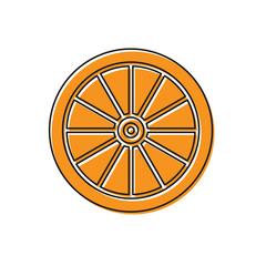 Orange Car wheel icon isolated on white background. Vector Illustration