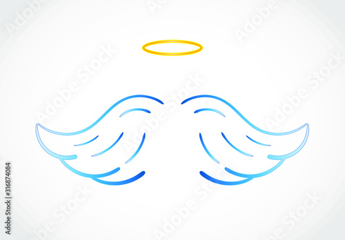 Fotomural  Angel wings icon with nimbus - stock vector