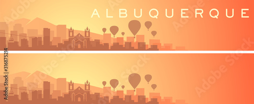 Albuquerque Beautiful Skyline Scenery Banner Canvas Print