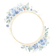 Floral Circular Frame Hand Drawn Raster Illustration