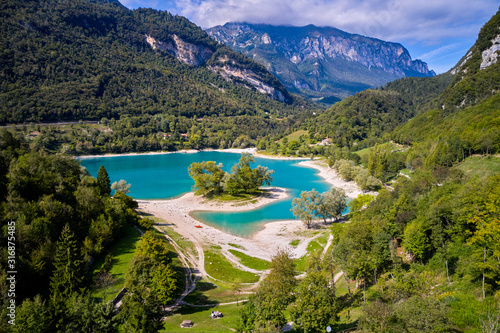 Arial View of Lake Tenno in autumn,Trento,Italy, Europa Wallpaper Mural