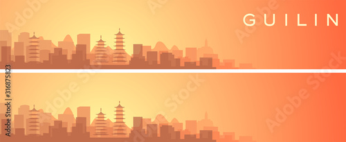 Obraz na plátně Guilin Beautiful Skyline Scenery Banner