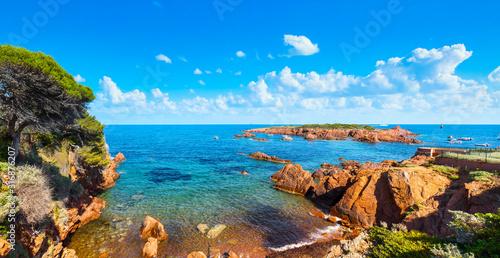 Photo Esterel, tree, rocks, beach and sea. Cote Azur, Provence, France.