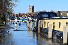 Narrow English River Boat Moor...
