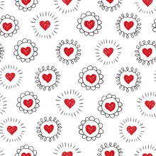 Hearts Seamless Pattern. Red H...