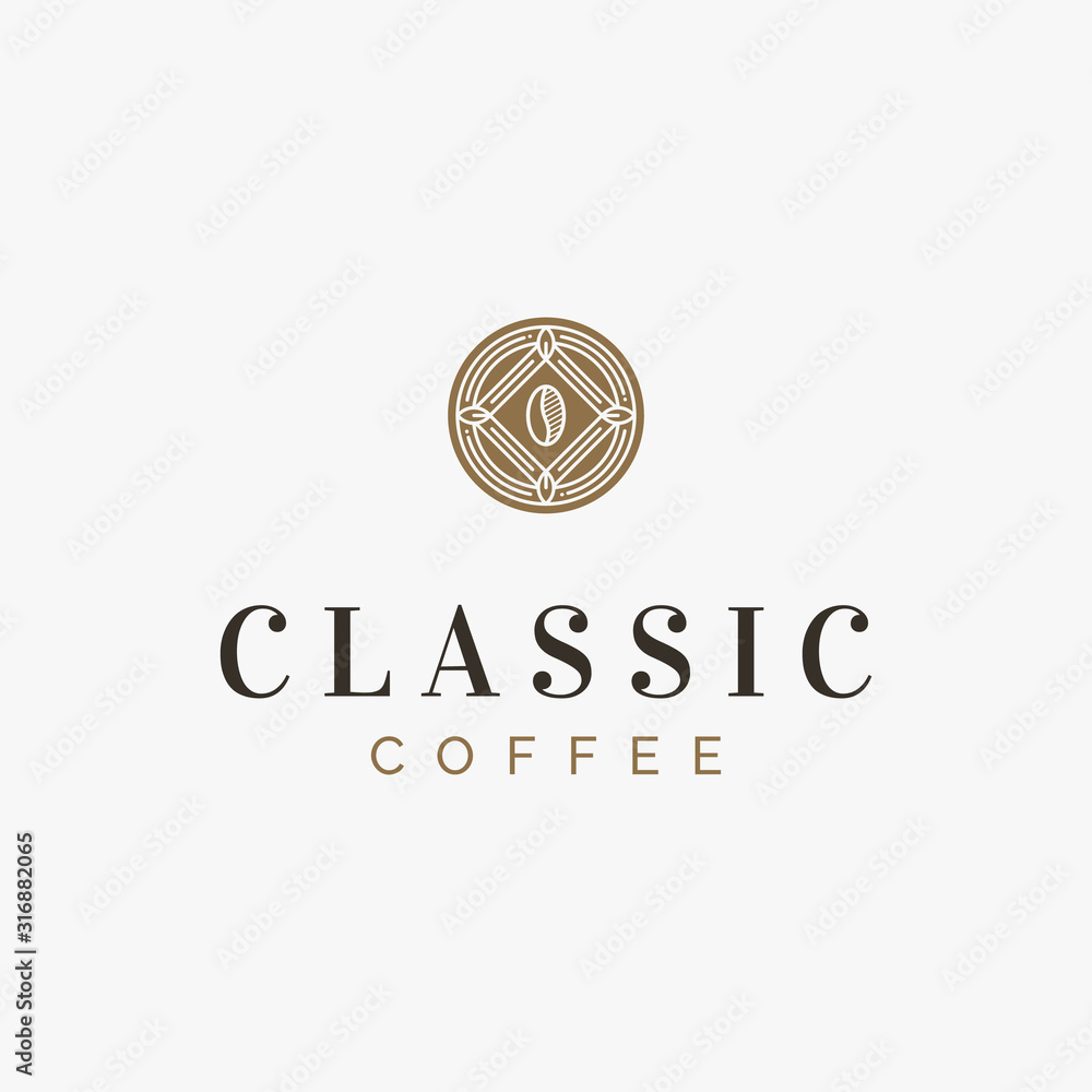 A classic and vintage coffee logo emblem in art deco style <span>plik: #316882065 | autor: Antivisual</span>