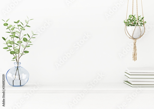 Valokuvatapetti Interior wall mockup with branches in blue vase and hanging macrame pot with green plant on empty white background