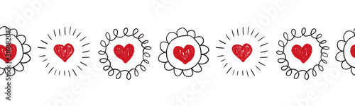 Obraz Seamless Hearts border. Repeating doodle heart shapes pattern. Black doodle circles on white background. Repeating Valentines design. Sketch scribble hearts. Use for banner, trim, ribbon - fototapety do salonu