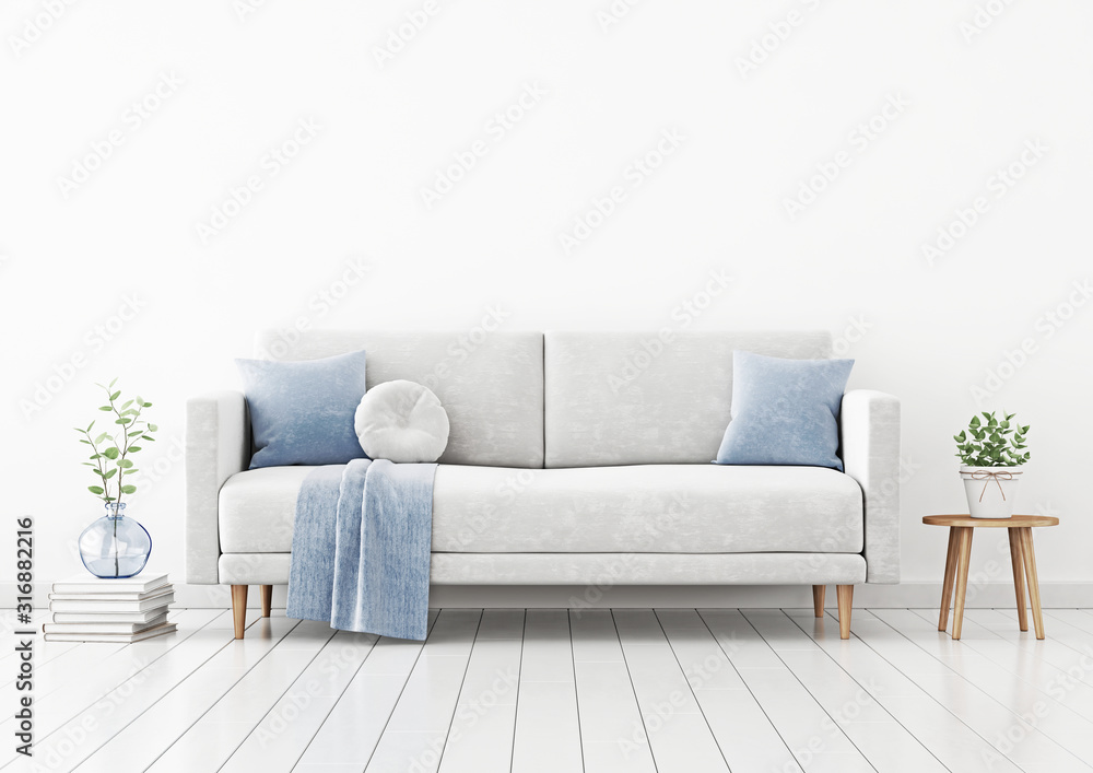 Fototapeta Living room interior wall mockup with gray velvet sofa, blue pillows and plaid, plant in vase and coffee table with pot on empty white wall background. 3D rendering, illustration.