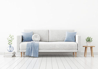 Living room interior wall mockup with gray velvet sofa, blue pillows and plaid, plant in vase and coffee table with pot on empty white wall background. 3D rendering, illustration.