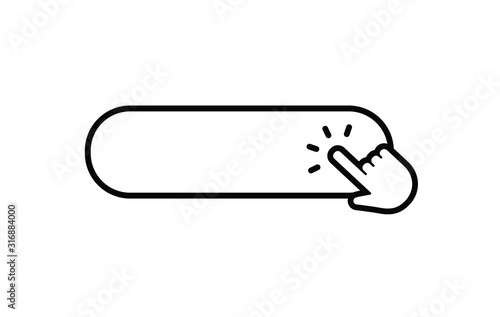 Obraz Click here button with hand clicking icon. - fototapety do salonu