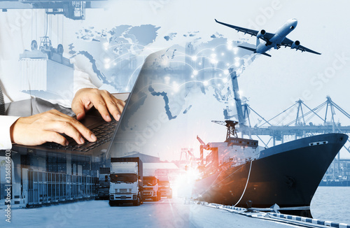 The world logistics  background or transportation Industry or shipping business, Fototapet