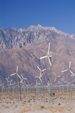 Wind Farm With Hills In Background, Palm Springs, California
