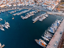 Aerial View Of Bay With Moored...