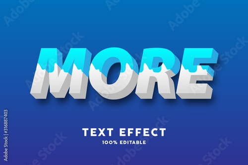 3D Fresh blue and white milk style text effect Fototapet