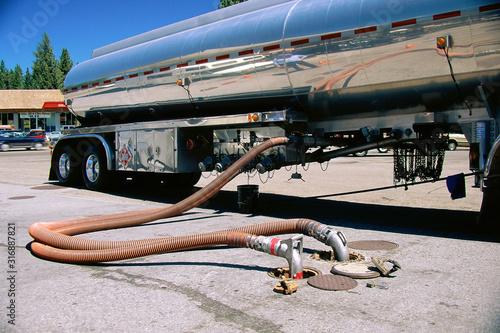 Valokuva Gas truck filling underground tank