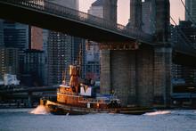 Tug Boat Under Brooklyn Bridge...