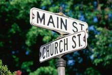 Sign Post At Corner Of Main St. And Church St.