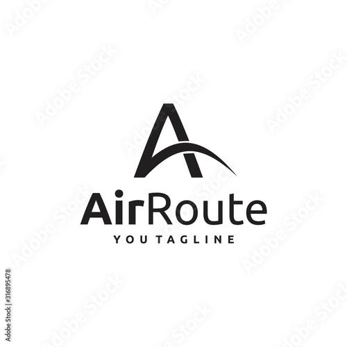 Air Route Letter A Logo Minimalist Modern Fototapete