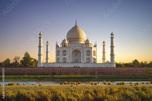 unesco Taj Mahal in Agra, India at dusk Wallpaper Mural