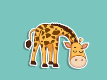 Cute Giraffe Cartoon Sticker. ...