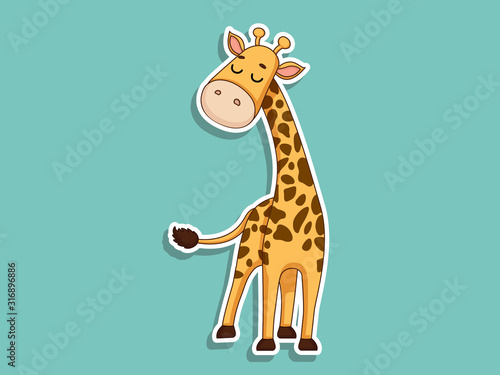 Cute Giraffe Cartoon Sticker Canvas Print