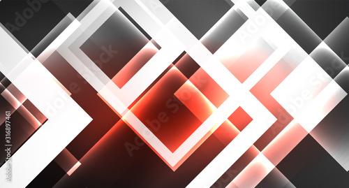 Vászonkép Neon shiny color squares on black, modern template