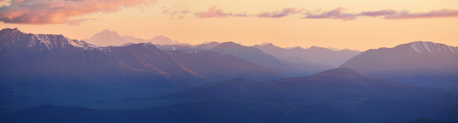 Panoramic view, mountains at sunset, Altai