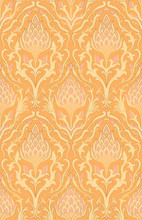Ornamental Orange Pattern For Wallpaper.