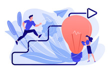 Businessman Running Up Stairs Arrow To Lightbulb. Creative Inspiration, How To Find Inspiration And Unlocking Creativity Concept On White Background. Pink Coral Blue Vector Isolated Illustration