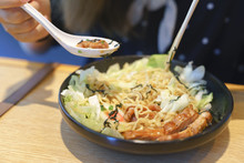 Eating Yakisoba Or Japanese Fr...