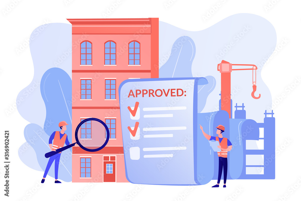 Fototapeta Architectural project approval, safety check. Construction quality control, construction quality management, hire your quality technician concept. Pinkish coral blue vector isolated illustration