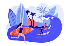 Teacher Teaching Surfing, Riding A Wave On The Surfboard In Ocean, Tiny People. Surfing School, Surf Spot Area, Learn To Surf Here Concept. Pinkish Coral Bluevector Isolated Illustration