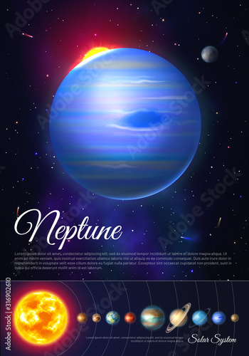 Fototapeta Neptune ice giant planet colorful poster with solar system