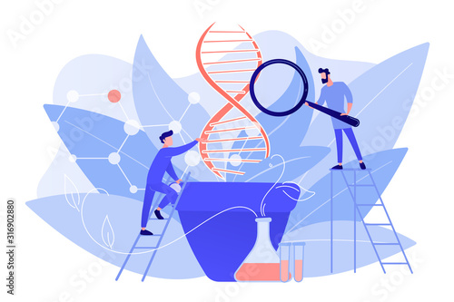 Scientists with magnifier looking at huge DNA in the pot Canvas Print