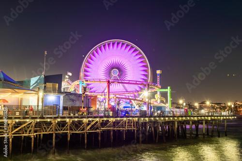Santa Monica Pier Carousel at Night, California Canvas Print