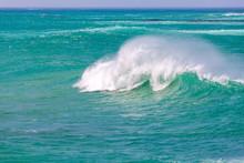 Ocean Waves Crushing In Vivid Turquoise Water