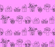 canvas print picture - Seamless pattern with gift boxes bows and ribbons. Cute hand drawn doodles. Concept for wrapping paper, greeting cards, xmas, packaging, wedding, birthday, fabric, valentine's Day, mother's Day