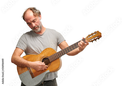 musician playing the broken guitar Fototapet