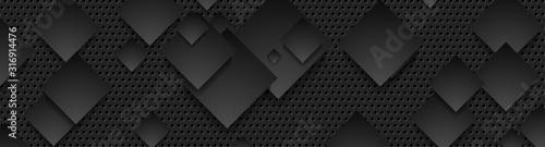 Black squares on dark perforated metallic background Fototapet