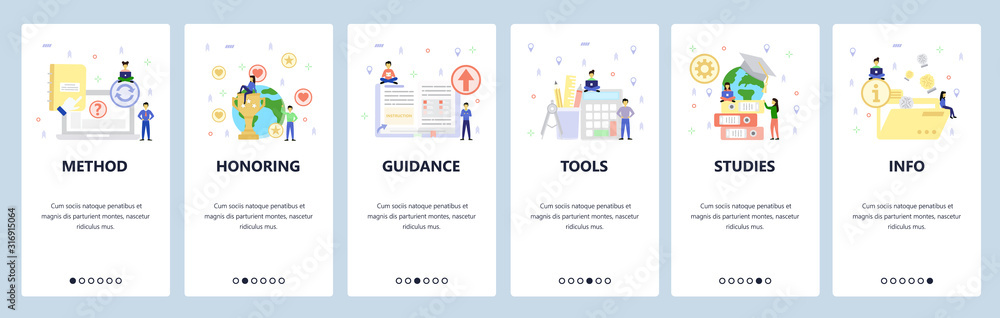 Education icons, office and studying accessories. Mobile app onboarding screens. Menu vector banner template for website and mobile development. Web site design flat illustration
