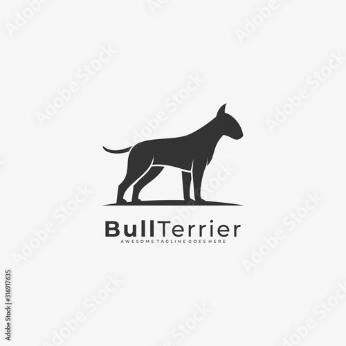 Vector Logo Illustration Bull Terrier Silhouette Fototapete