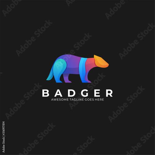 Fotomural Vector Logo Illustration Badger Wildly Gradient Colorful